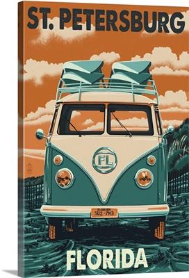 St. Petersburg, Florida - VW Van Letterpress: Retro Travel Poster