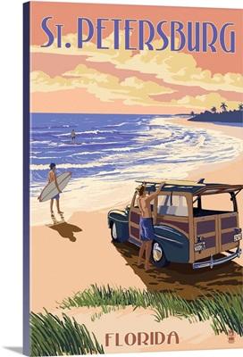 St. Petersburg, Florida - Woody On The Beach: Retro Travel Poster
