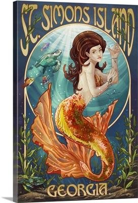 St. Simons Island, Georgia - Mermaid: Retro Travel Poster