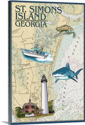 St. Simons Island, Georgia - Nautical Chart: Retro Travel Poster