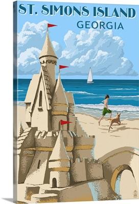St. Simons Island, Georgia - Sand Castle: Retro Travel Poster