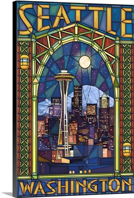 Stained Glass Window - Seattle, WA: Retro Travel Poster