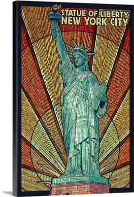 Statue of Liberty Mosaic - New York City, New York: Retro Travel Poster