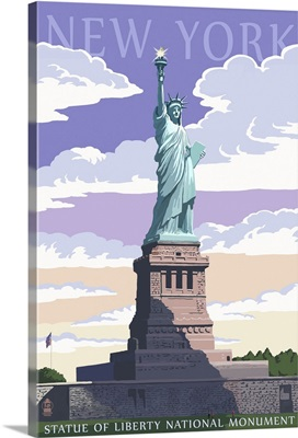 Statue of Liberty National Monument - New York City, NY: Retro Travel Poster