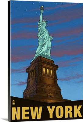 Statue of Liberty - New York City, NY: Retro Travel Poster