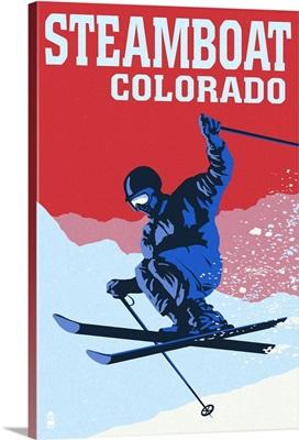 Steamboat, Colorado - Colorblocked Skier: Retro Travel Poster