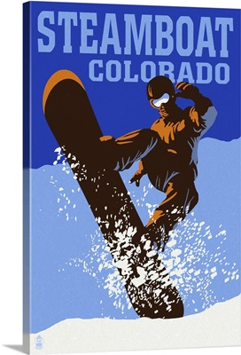 Steamboat, Colorado - Colorblocked Snowboarder: Retro Travel Poster