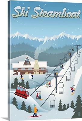 Steamboat, Colorado - Retro Ski Resort: Retro Travel Poster
