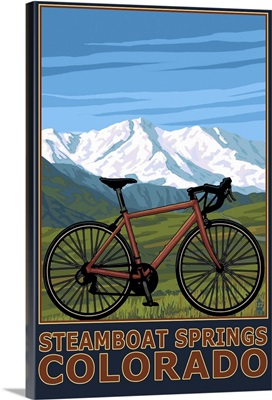 Steamboat Springs, CO - Mountain Bike: Retro Travel Poster