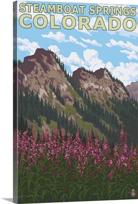 Steamboat Springs, CO - Mountain Scene: Retro Travel Poster