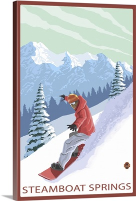 Steamboat Springs, CO - Snowboarder: Retro Travel Poster