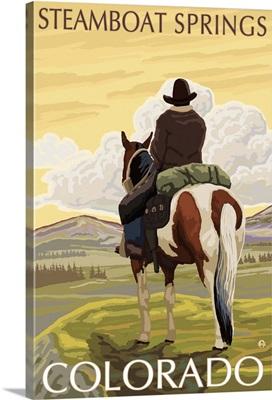 Steamboat Springs, Colorado - Cowboy on Horseback: Retro Travel Poster