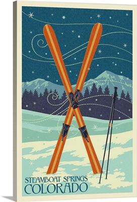Steamboat Springs, Colorado - Crossed Skis - Letterpress: Retro Travel Poster