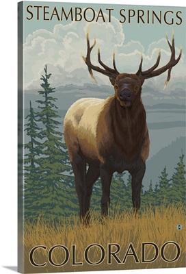 Steamboat Springs, Colorado - Elk Scene: Retro Travel Poster