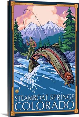 Steamboat Springs, Colorado - Fisherman: Retro Travel Poster