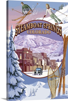 Steamboat Springs, Colorado Montage: Retro Travel Poster