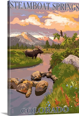 Steamboat Springs, Colorado - Moose and Meadow Scene: Retro Travel Poster