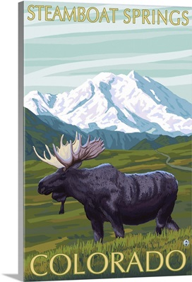 Steamboat Springs, Colorado - Moose and Mountain: Retro Travel Poster