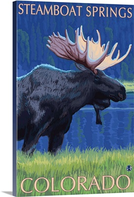 Steamboat Springs, Colorado - Moose at Night: Retro Travel Poster