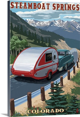 Steamboat Springs, Colorado - Retro Camper: Retro Travel Poster