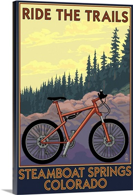 Steamboat Springs, Colorado - Ride the Trails: Retro Travel Poster