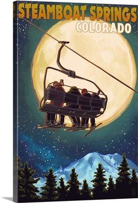 Steamboat Springs, Colorado - Ski Lift and Full Moon: Retro Travel Poster