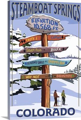 Steamboat Springs, Colorado - Ski Run Signpost: Retro Travel Poster