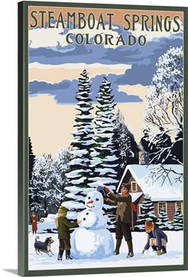Steamboat Springs, Colorado - Snowman Scene: Retro Travel Poster