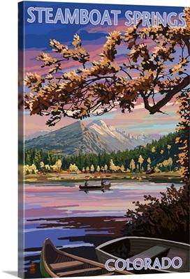 Steamboat Springs, Colorado - Twilight Lake Scene: Retro Travel Poster