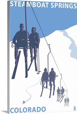 Steamboat Springs, Ski Lift: Retro Travel Poster