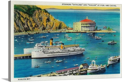 Steamers Catalina and Avalon at Pier, and Casino, Catalina Island, CA