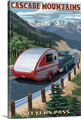 Stevens Pass, Washington - Retro Camper: Retro Travel Poster