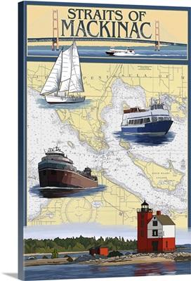Straits of Mackinac, Michigan - Nautical Chart: Retro Travel Poster