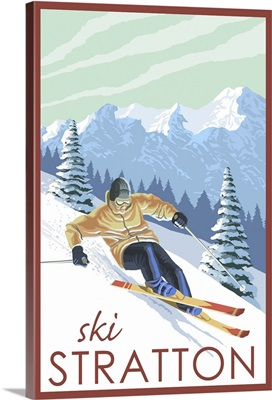 Stratton, Vermont - Downhill Skier Scene: Retro Travel Poster
