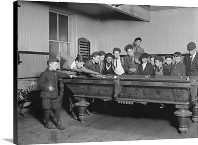 Street Boys Playing Billiards at the Boys' Club, New Haven, CT