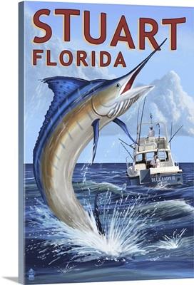 Stuart, Florida - Marlin Fishing Scene: Retro Travel Poster