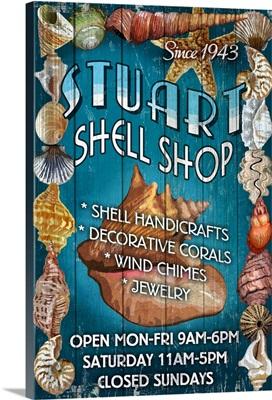 Stuart, Florida - Shell Shop Vintage Sign: Retro Travel Poster