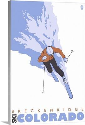 Stylized Skier - Breckenridge, Colorado: Retro Travel Poster