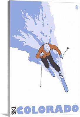 Stylized Skier - Colorado: Retro Travel Poster