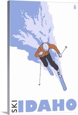 Stylized Skier - Idaho: Retro Travel Poster