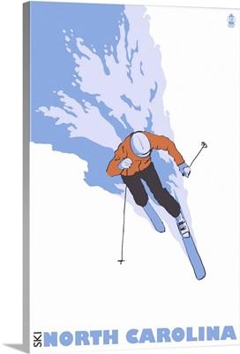 Stylized Skier - North Carolina: Retro Travel Poster