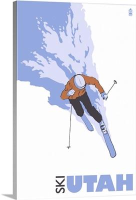 Stylized Skier - Utah: Retro Travel Poster