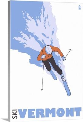 Stylized Skier - Vermont: Retro Travel Poster