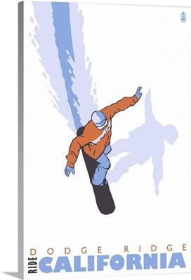 Stylized Snowboarder - Dodge Ridge, California: Retro Travel Poster