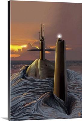 Submarine and Sunset: Retro Poster Art