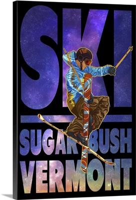 Sugarbush, Vermont - Milky Way Skier: Retro Travel Poster