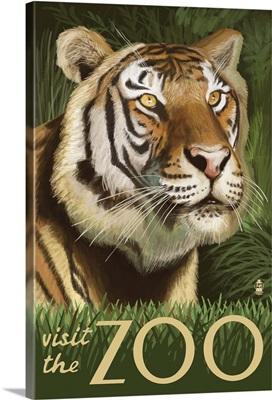 Sumatran Tiger - Visit the Zoo: Retro Travel Poster
