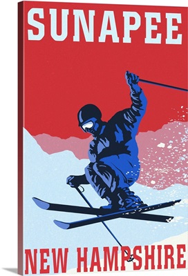 Sunapee, New Hampshire - Colorblocked Skier: Retro Travel Poster