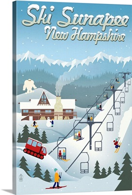 Sunapee, New Hampshire - Retro Ski Resort: Retro Travel Poster