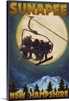 Sunapee, New Hampshire - Ski Lift and Full Moon: Retro Travel Poster